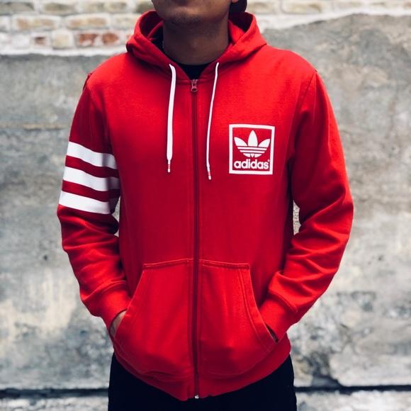 07364a4e8 adidas Sweaters | Originals Red 3 Stripes Trefoil Hoodie | Poshmark